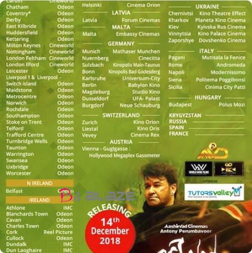 odiyan UK theater list