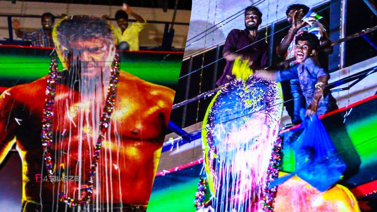 Fans Paal Abhishekam for Ajith Cut out