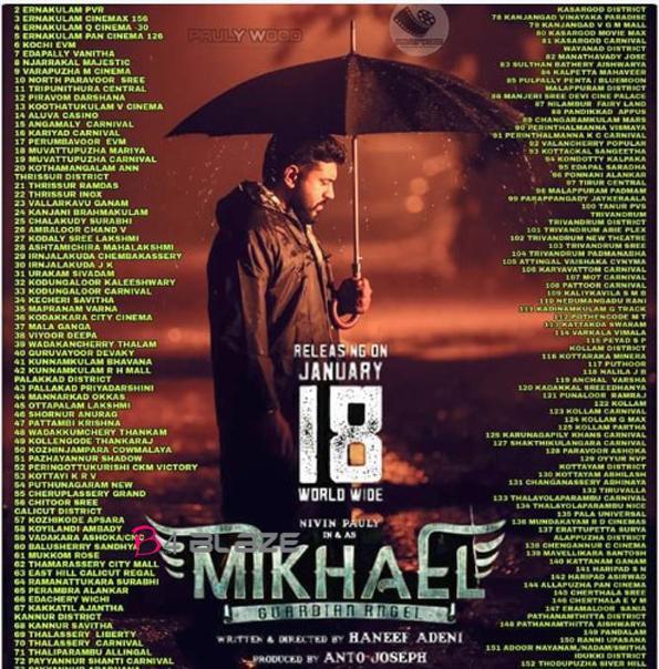 Nivin Pauly's Latest Movie Mikhael's Theatre List in Kerala