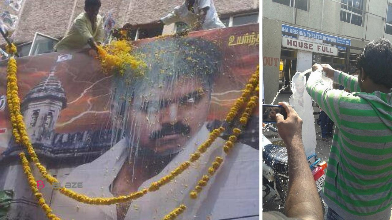 fans paal abhishekam for Vijay cut out