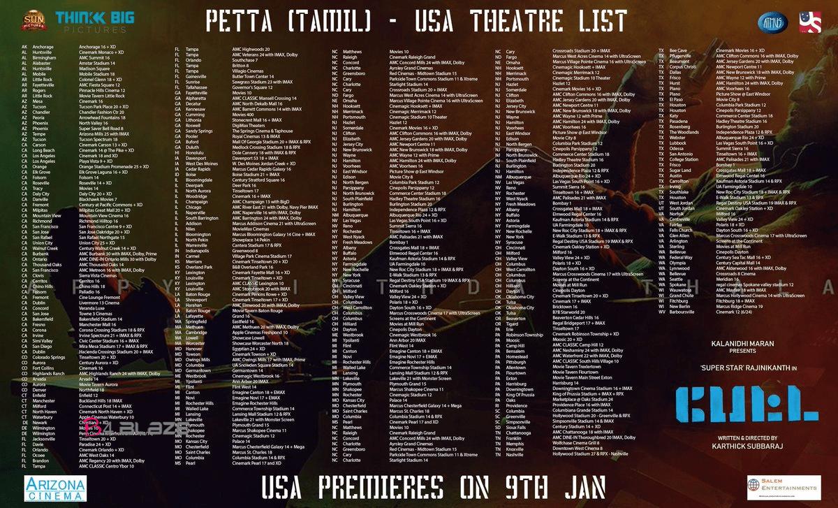 petta USA Theater list
