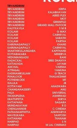 Peranbu Movie Theater list in Kerala