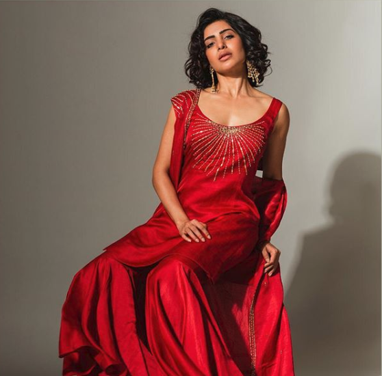 Samantha's Latest Photoshoot in Red Gown 1