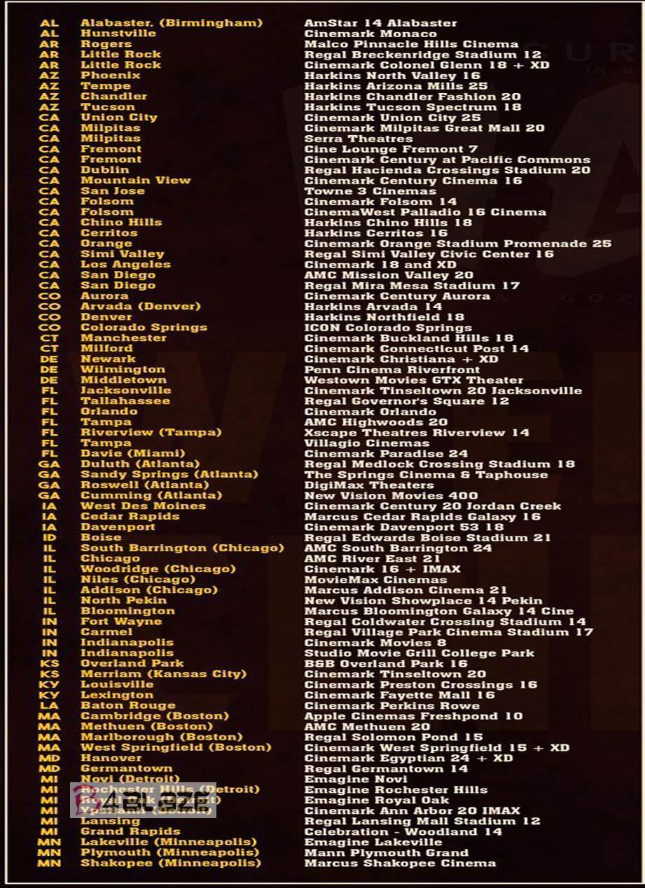NGK Movie Worldwide Theater List