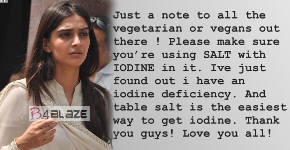 Sonam Kapoor Ahuja suffers from iodine deficiency