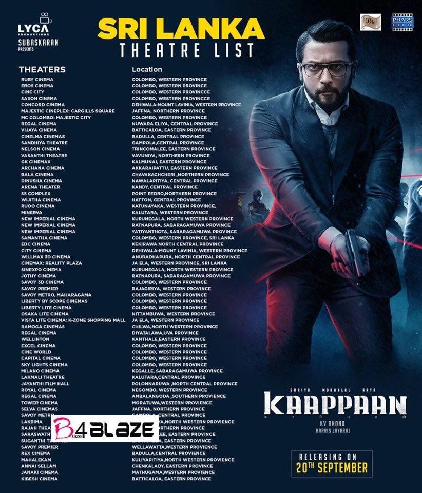 Kaappaan Theatre List Srilanka