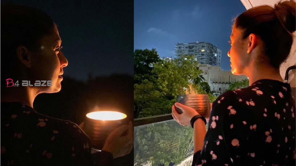 Nayanthara lights lamps...