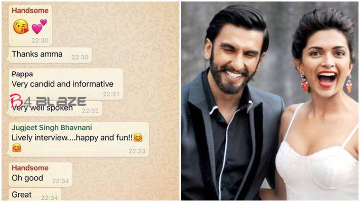 Deepika Padukone Published her Whatsapp Family Group's Chat