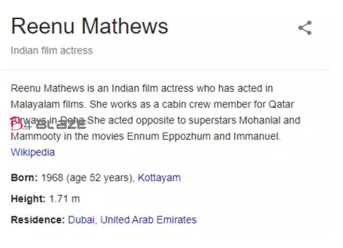 Google says Reenu Mathews is 52