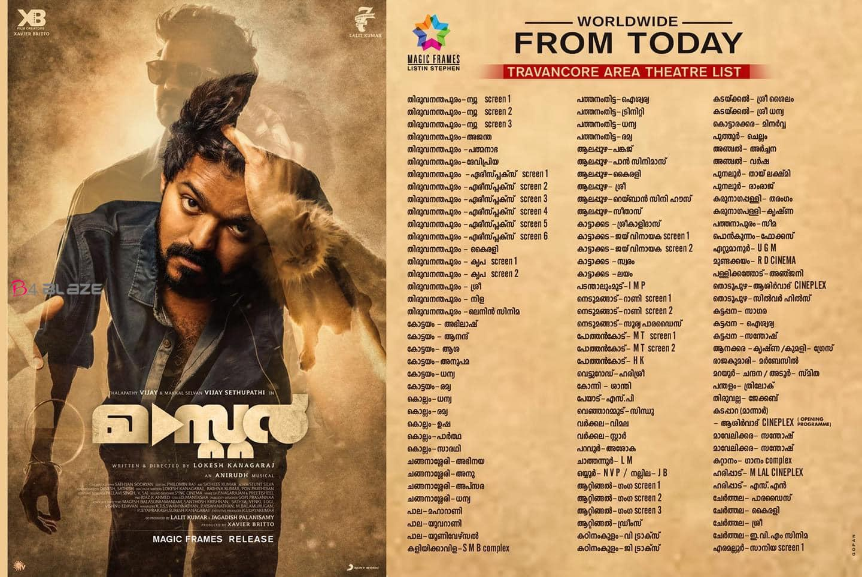 Master Movie Kerala Theatre List